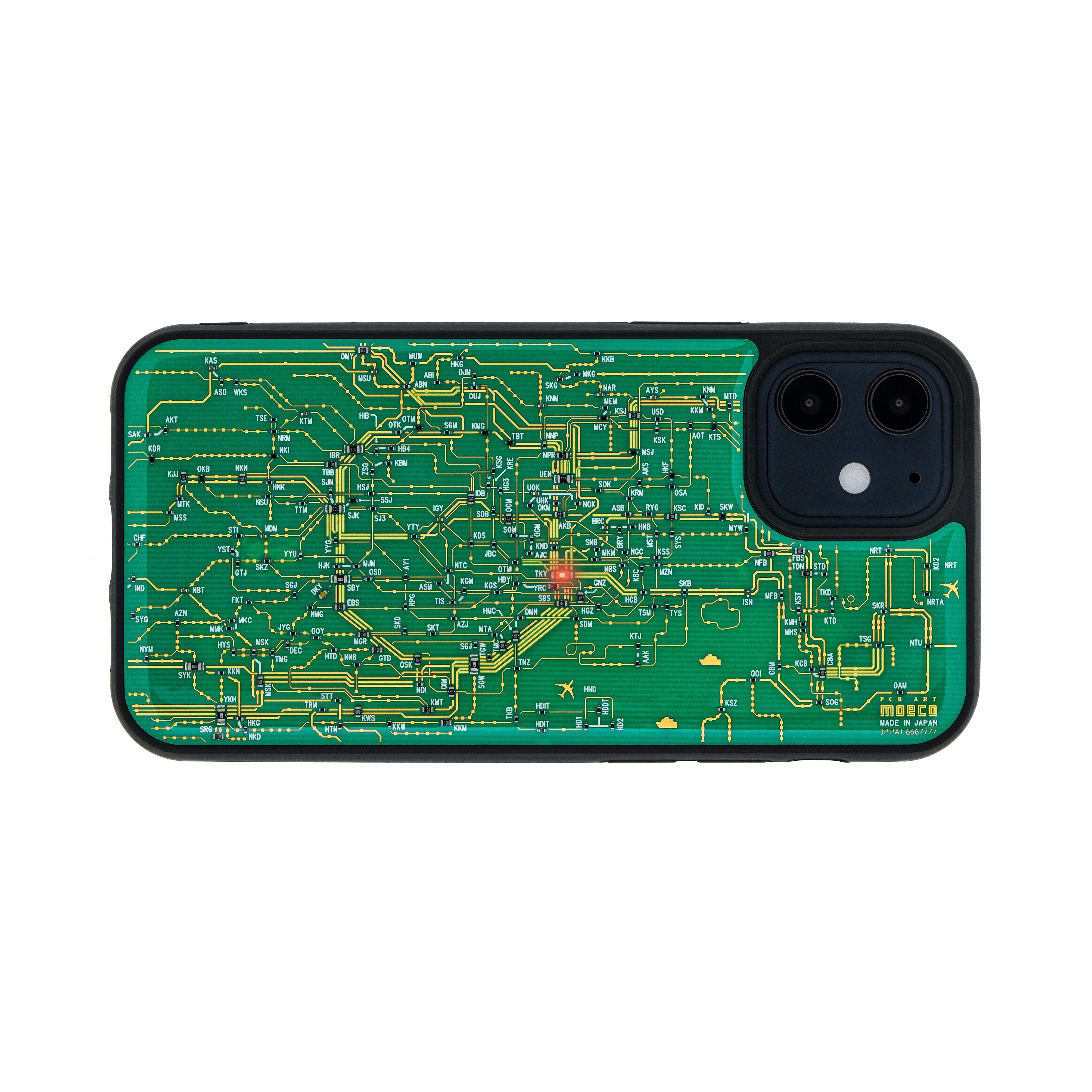 FLASH 東京回路線図 iPhone 12 mini ケース 緑【東京回路線図A5クリアファイルをプレゼント】