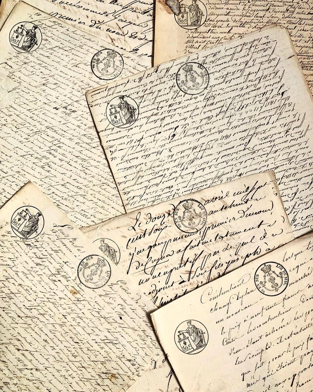 フランス古紙 19世紀 裁判の記録紙 手書き文字