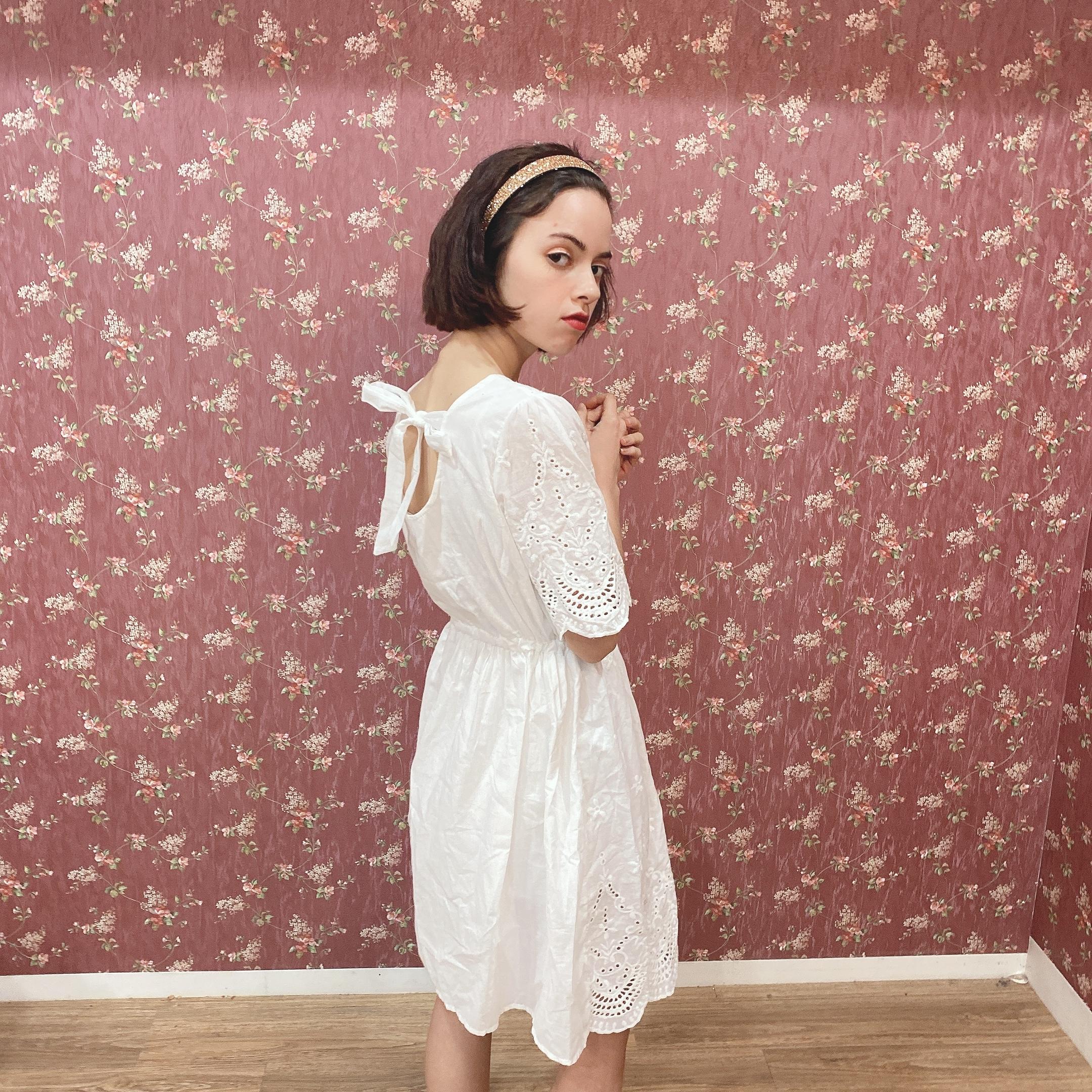 【LAST2】back ribbon cotton op