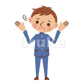イラスト素材:困った表情でお手上げポーズをする学生服姿の男子中学生・高校生(ベクター・JPG)