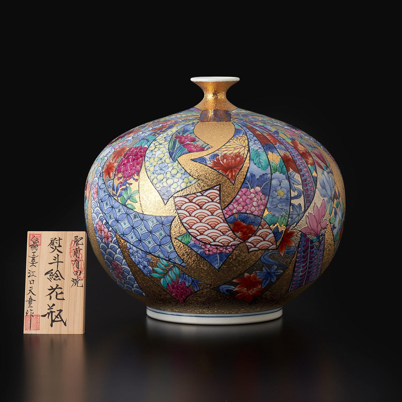 金彩熨斗絵 花瓶
