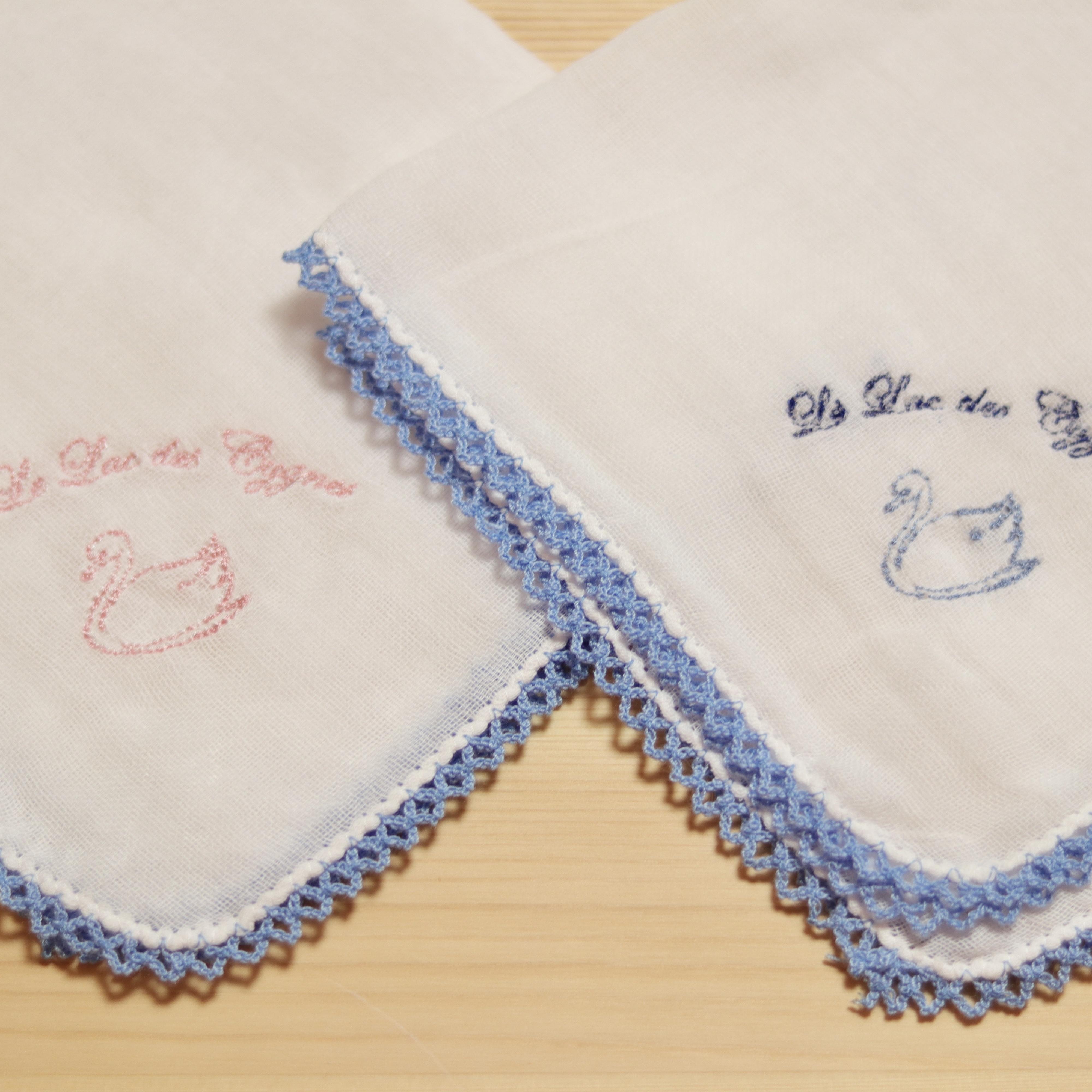 オリジナル刺繍ガーゼハンカチピコレース