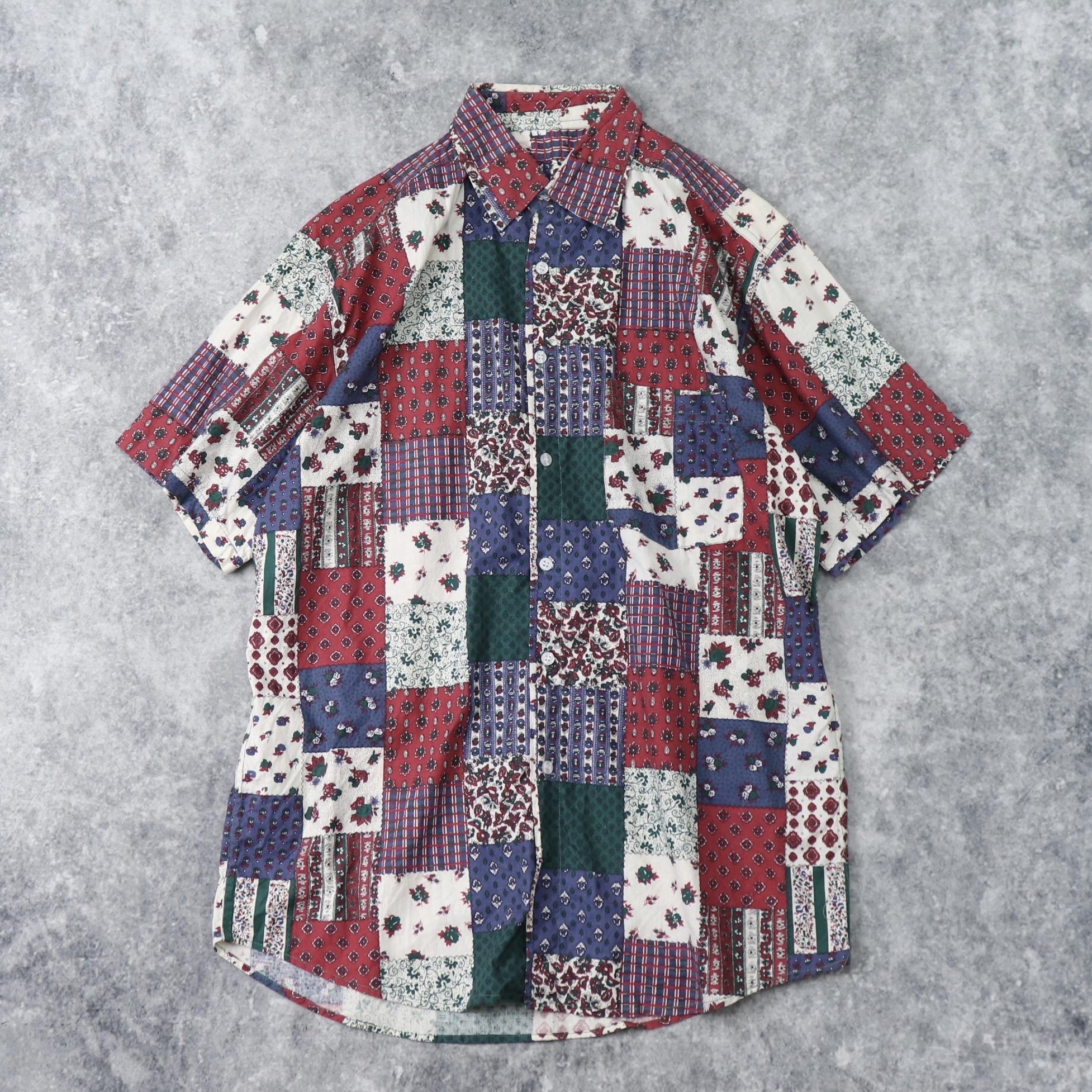 90年代 半袖 パッチワークプリント 総柄シャツ L 古着