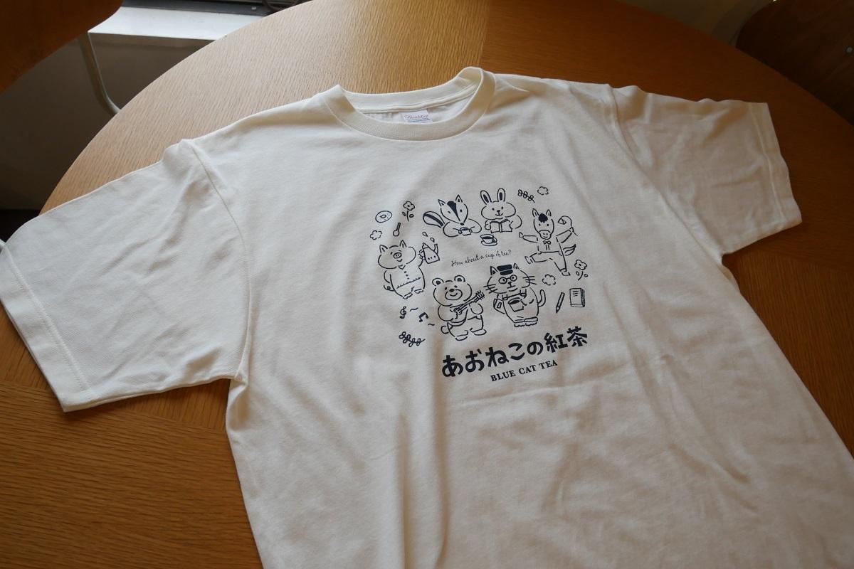 あおねこ印オリジナルTシャツ「あおねこのティータイム」an-14