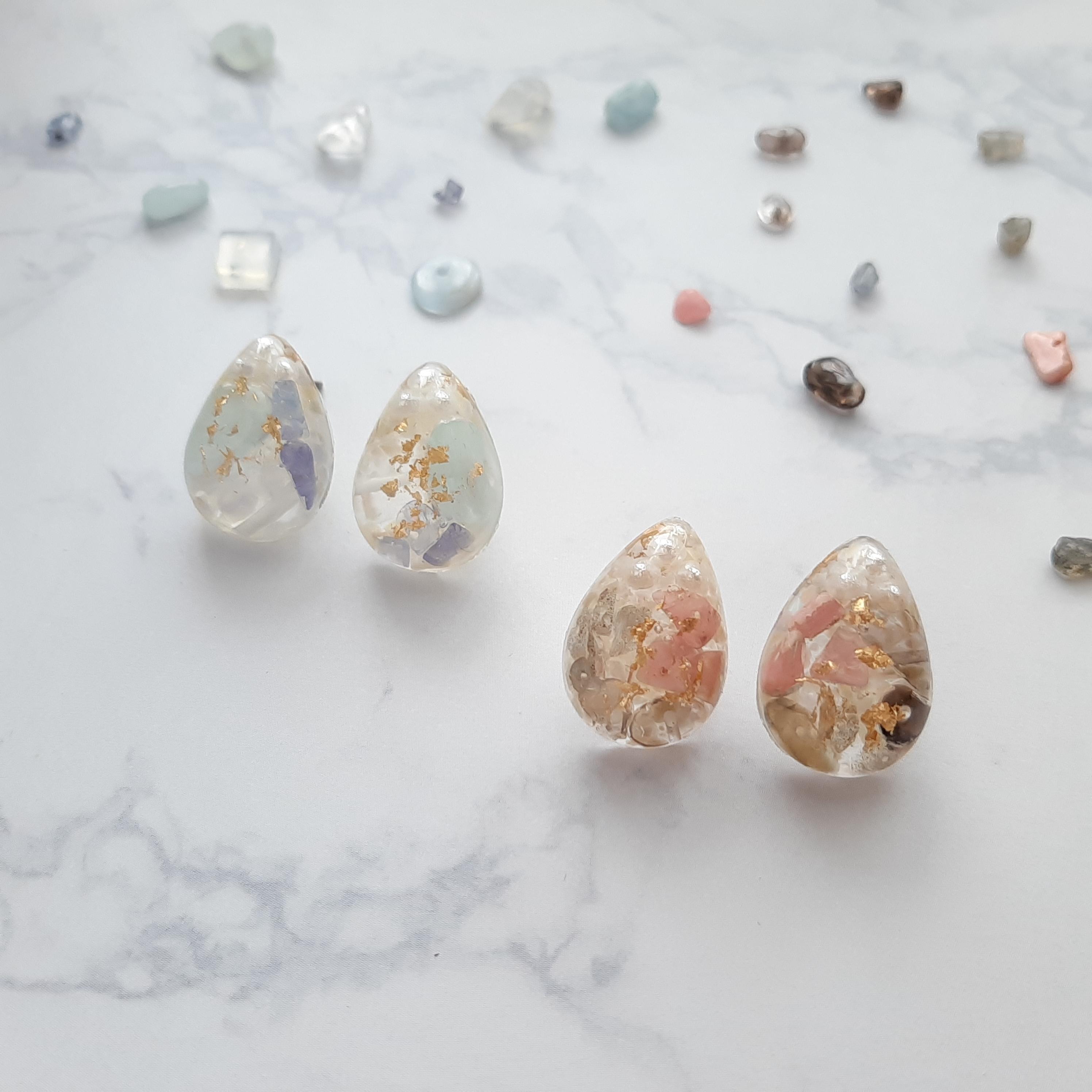 3色の天然石*drop*winterピアス/イヤリング