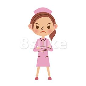 イラスト素材:怒った表情で腕組みをする看護師/ナース(ベクター・JPG)