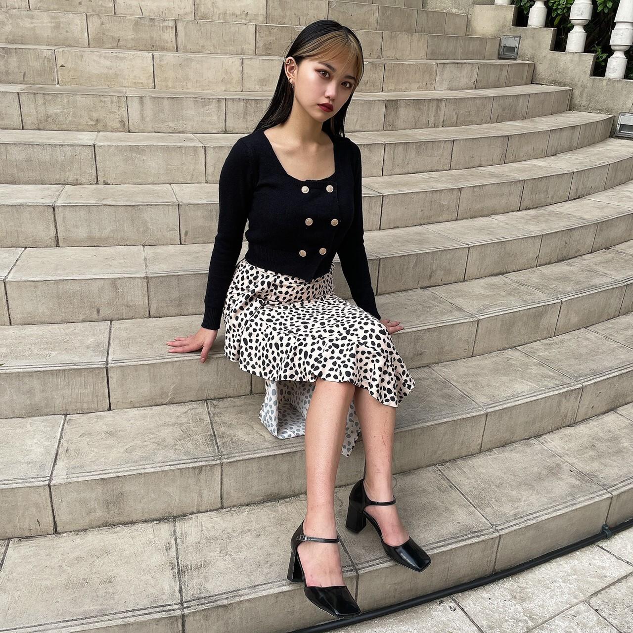 【Belle】square neck knit cardigan / black
