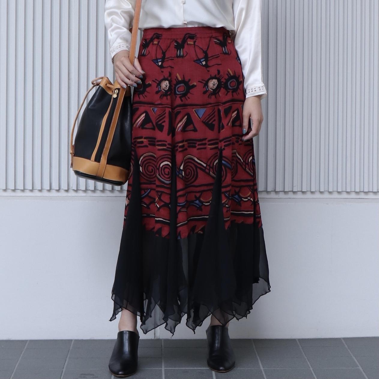 90年代 アシンメトリー 裾シフォン ロングスカート アメリカ 古着 日本L