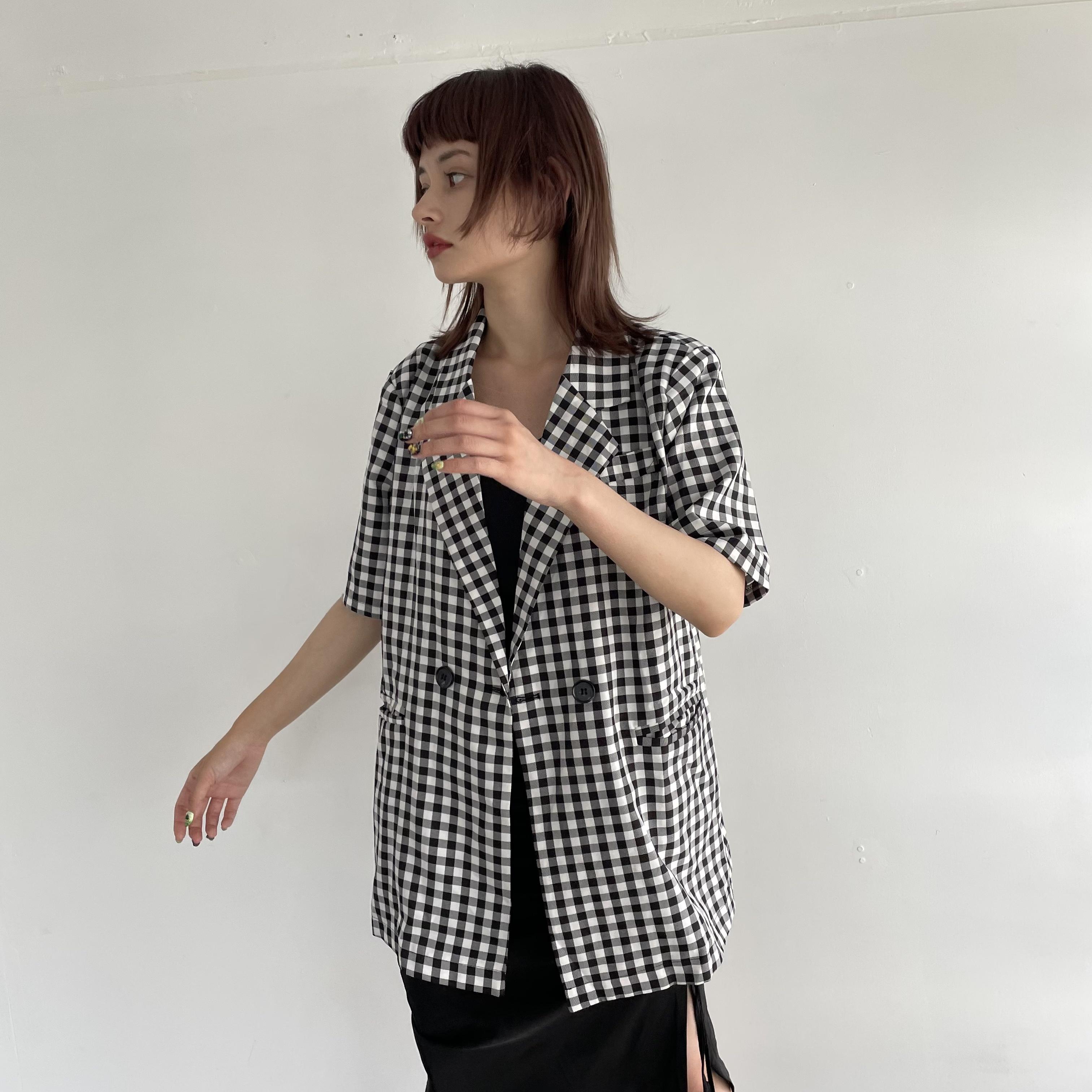 【Belle】check short sleeve jacket / black