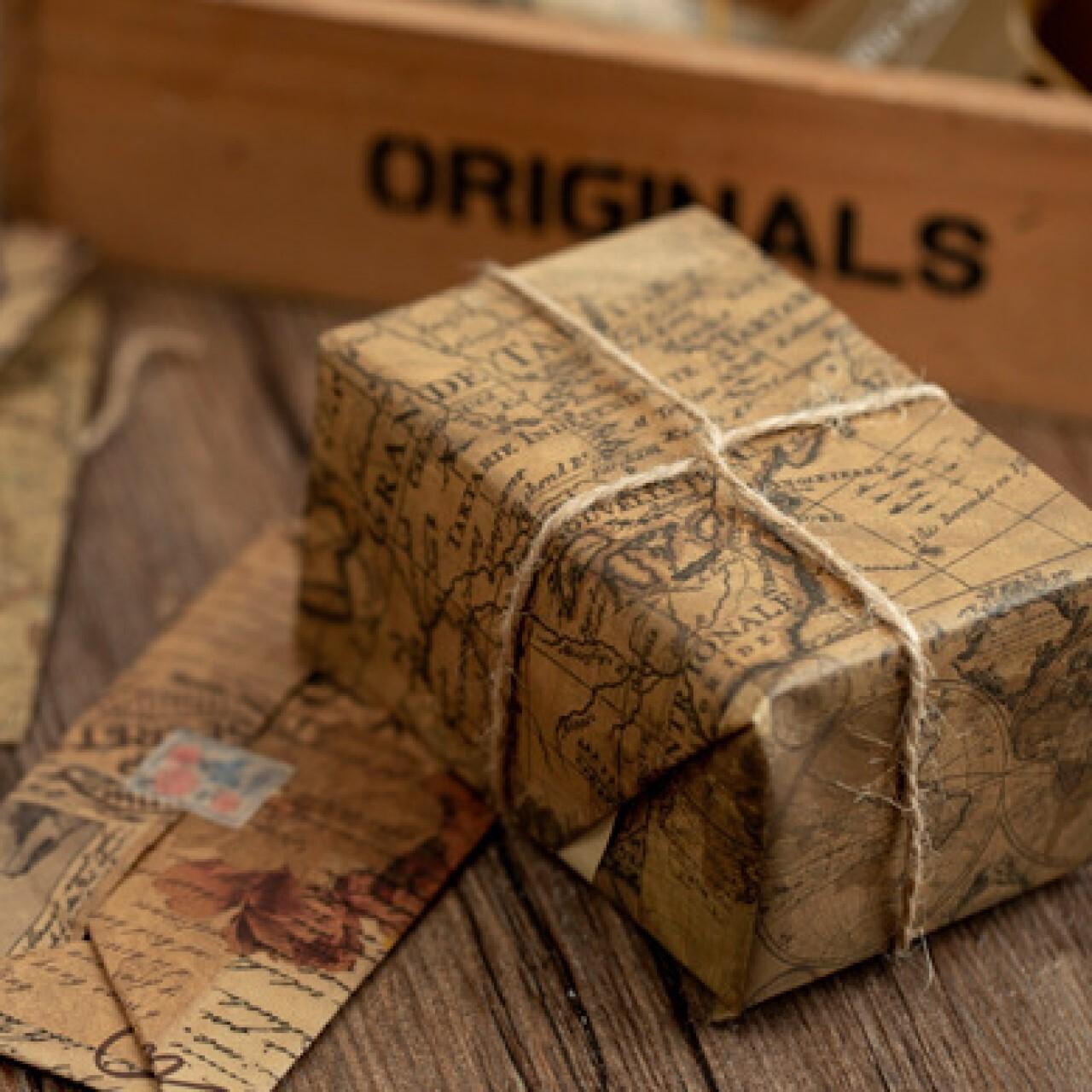 レトロ 素材紙 全4種 クラフト紙 大判 紙もの 紙活 コラージュ ジャンクジャーナル 素材 海外製 S18