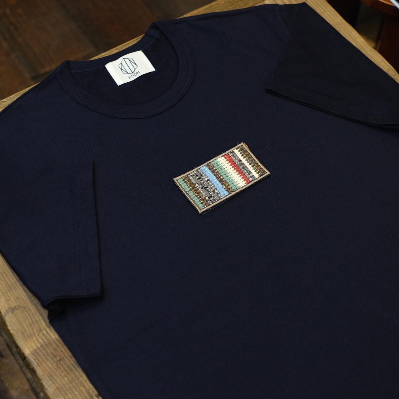KUON(クオン) 裂き織りパッチTシャツ ネイビー