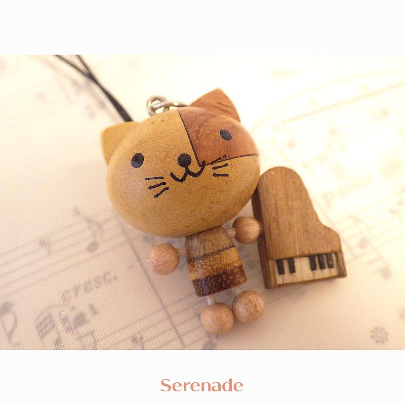 【再入荷】ピアノねこ 動物と楽器の木製ストラップ