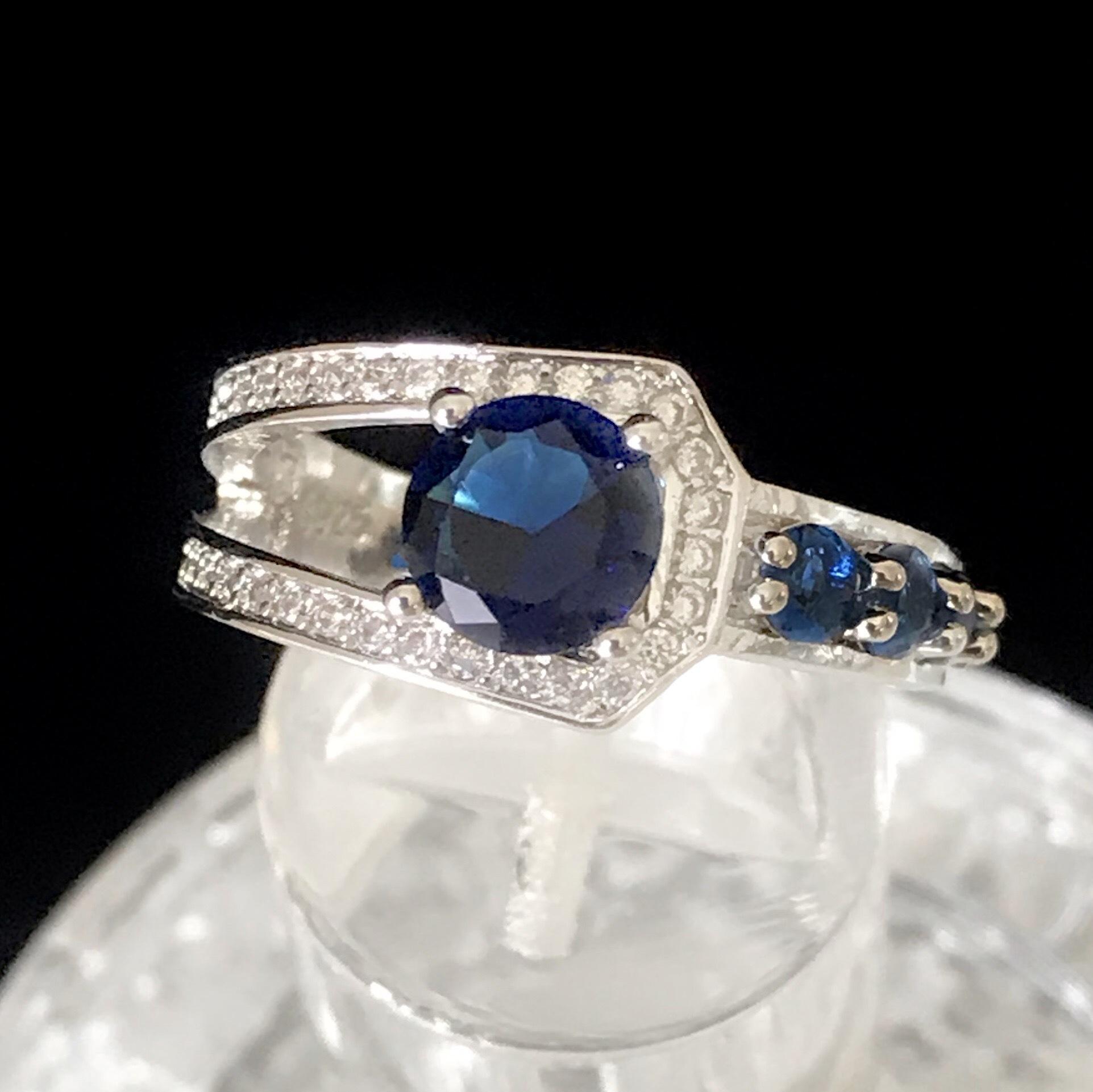D052A アシンメトリ サファイア ブルー シルバー リング レディース 指輪