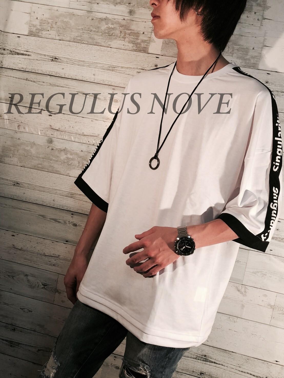 REGULUS NOVE ドルマンスリーブラインBIGT WHITE ユニセックス レディース メンズ オーバーサイズ 大きいサイズ 派手 個性的 ストリート ロック