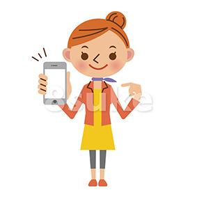 イラスト素材:スマートフォンを持つ女性(ベクター・JPG)