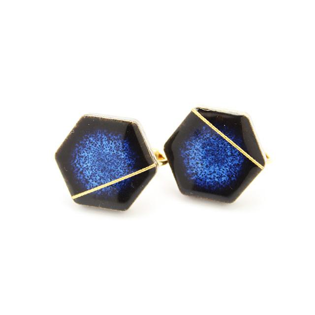 伝統工芸品 美濃焼 六角形 光芒のイヤリング&ピアス 藍色