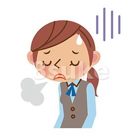イラスト素材:働く女性の疲れ・ストレスイメージ(ベクター・JPG)