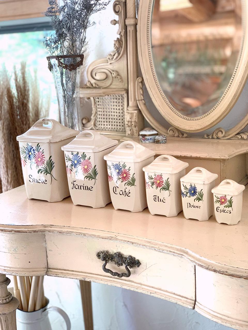 陶器 花柄キャニスター