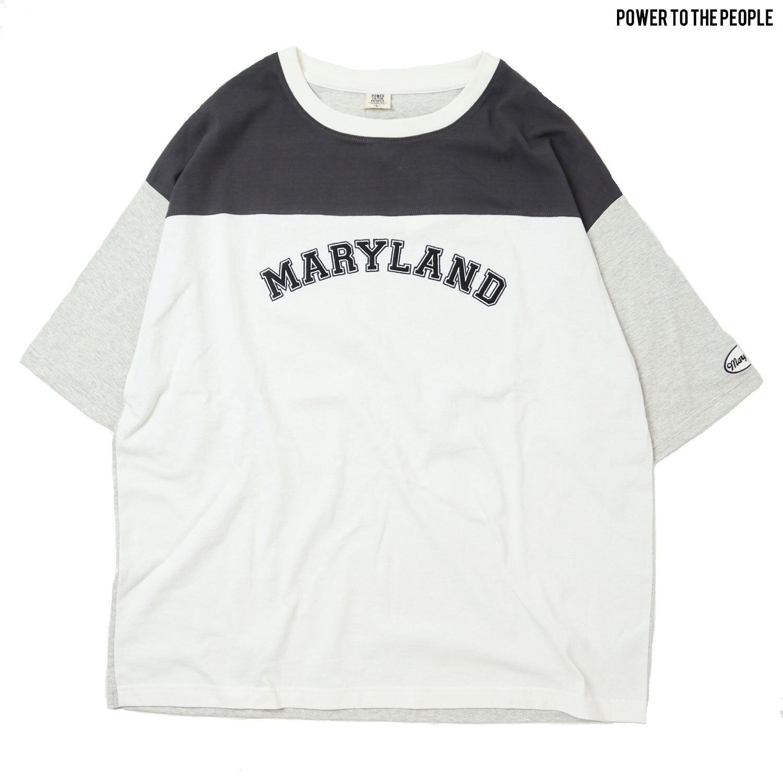 COLLEGE切り替えワッペン刺繍Tシャツ NO1501032