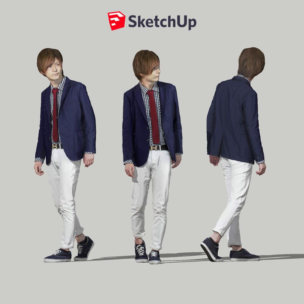 SketchUp素材 3D人物モデル ( Posed ) 083_Ren - 画像1