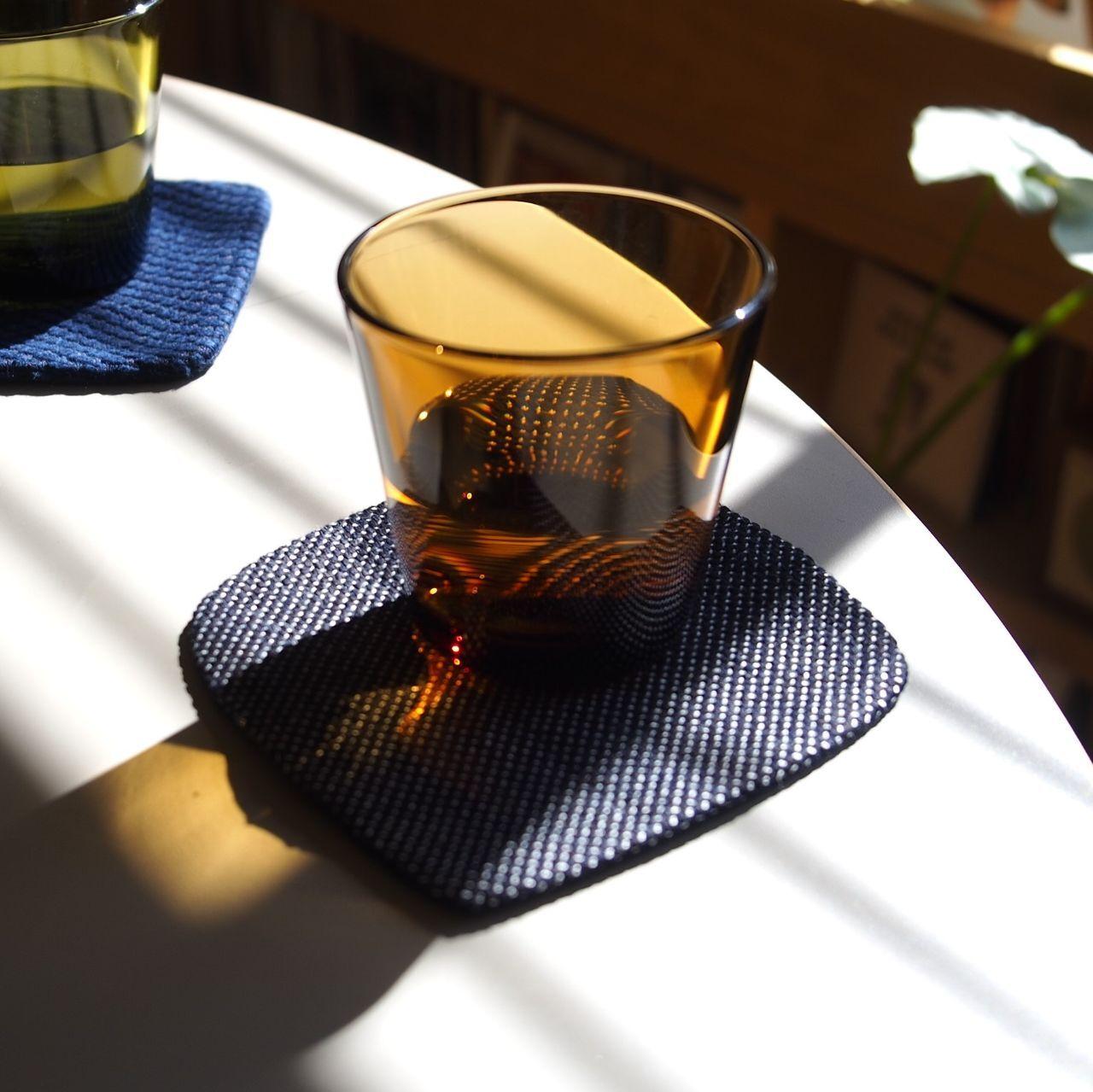 うしじま縫製   武州正藍染 四角コースター 一重刺子