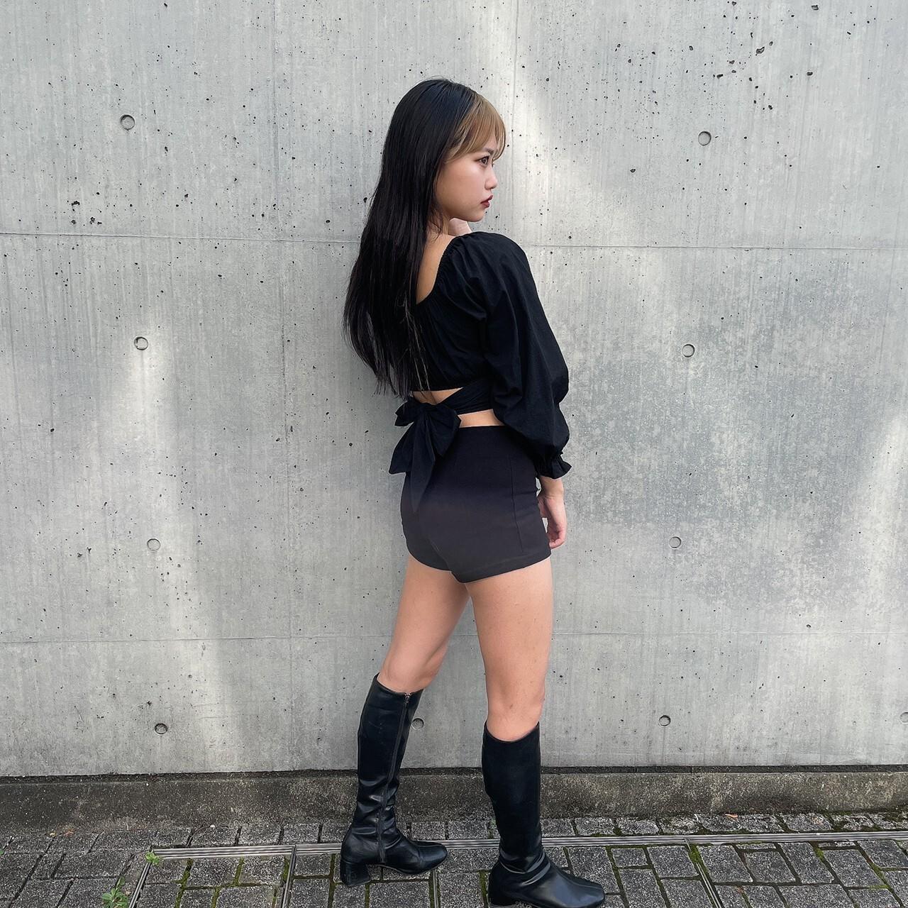 【Belle】lovely back ribbon blouse / black