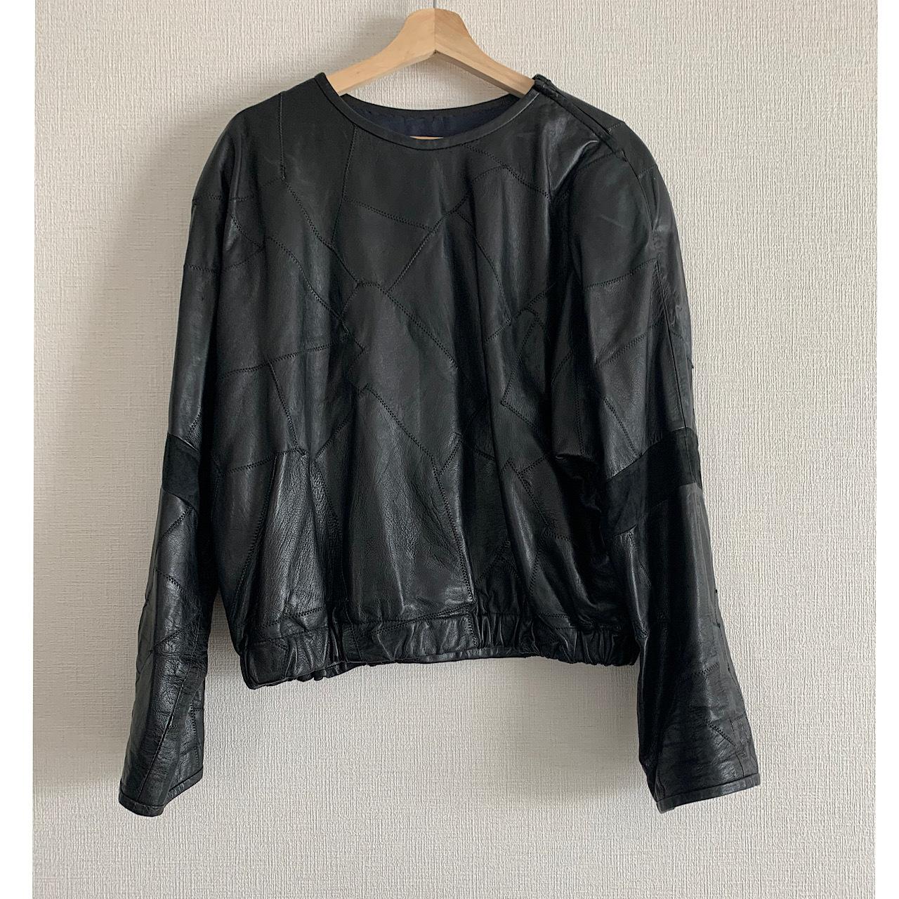 80's vintage black leather patchwork pullover