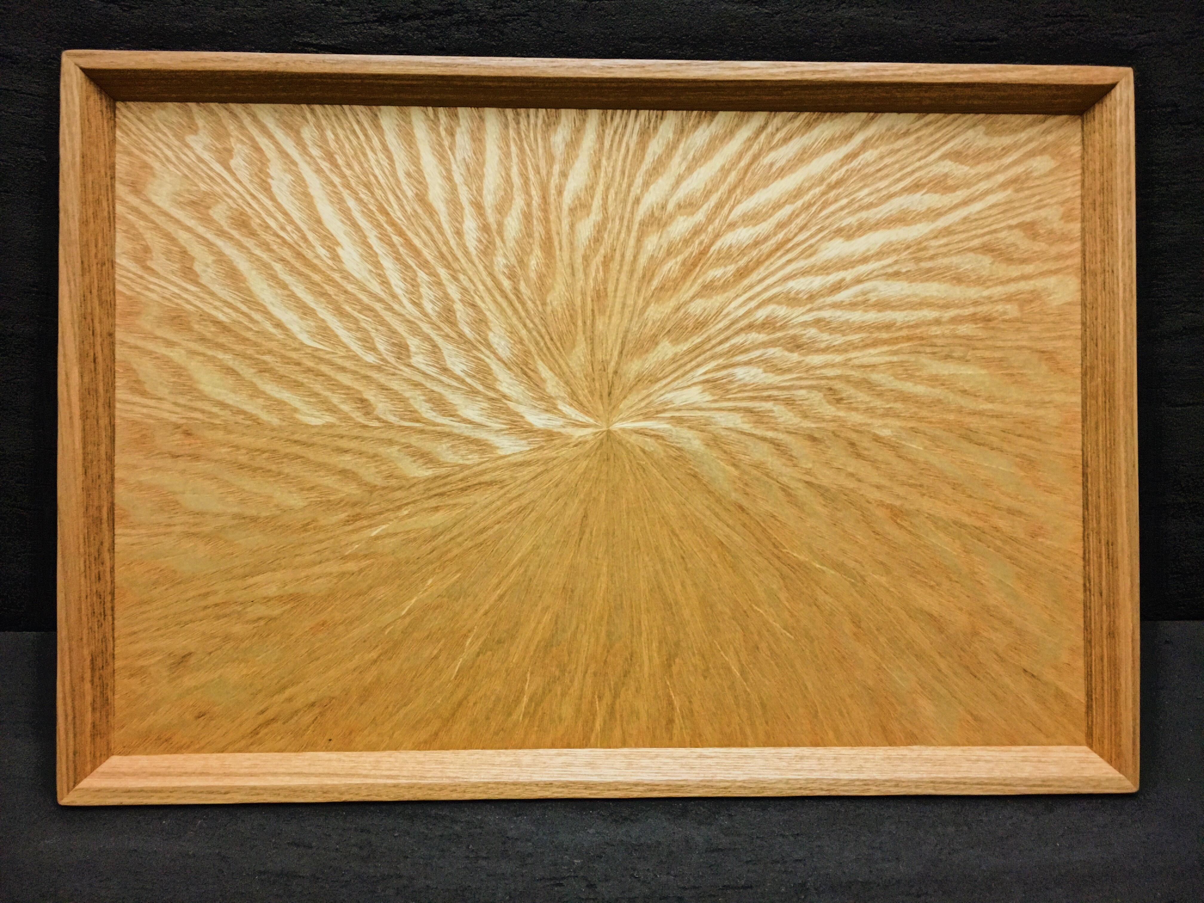 シオジ笹杢 光線貼り長手盆 0077