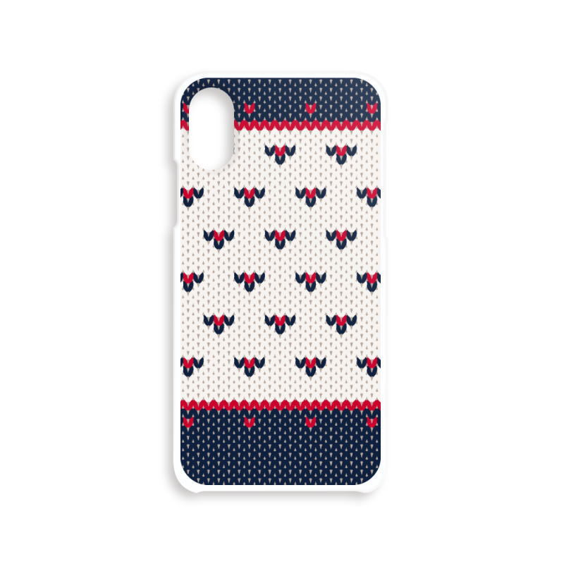 DZ01 小さなハート編み物風*紺と赤 BASE リンク