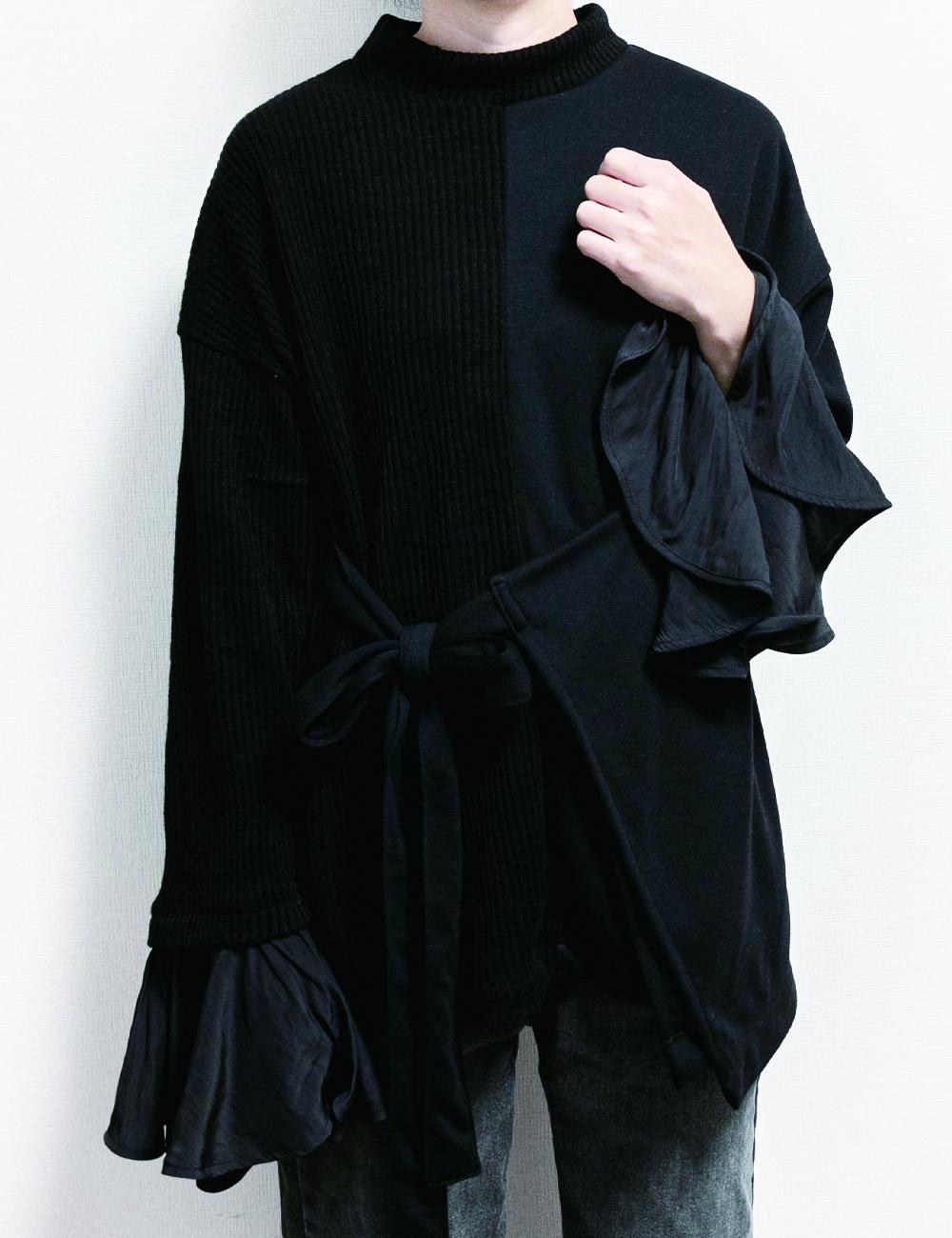 Vintage satin sleeve knit / Black