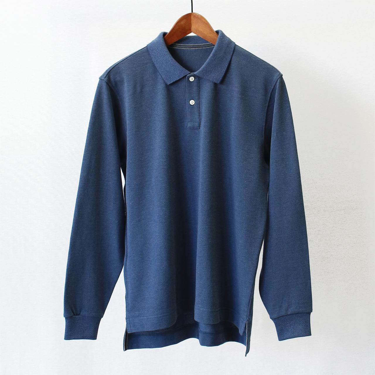 スビンゴールド鹿の子 長袖ポロシャツ