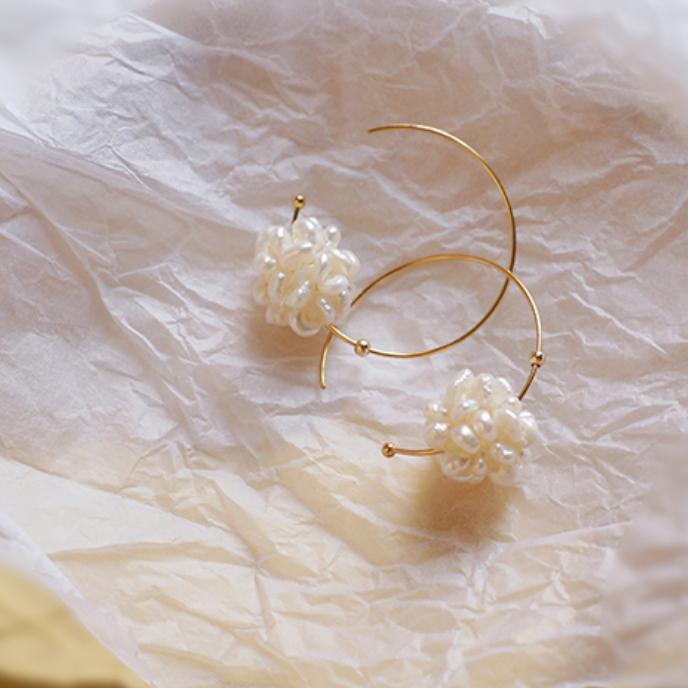 pearl ball flower pierce p094