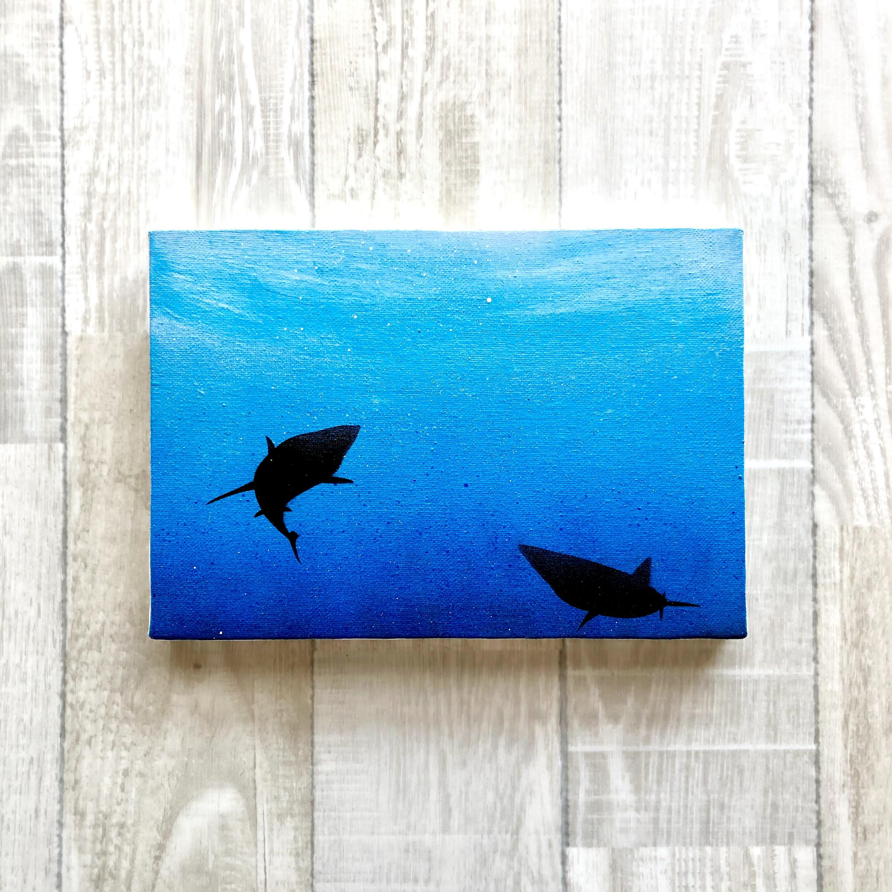 「潜む鮫」 キャンバスパネル風景画
