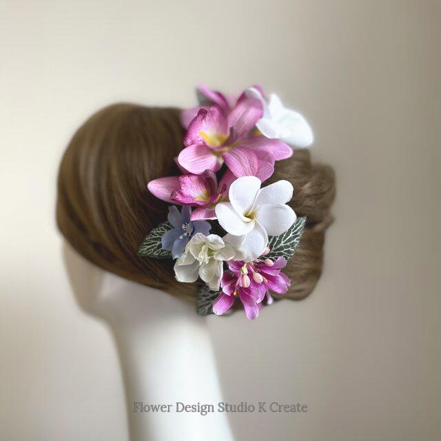 プルメリアとローズピンクの蘭のヘッドドレス リゾートウェディング 髪飾り 成人式 結婚式 ヘッドドレス ウェディング