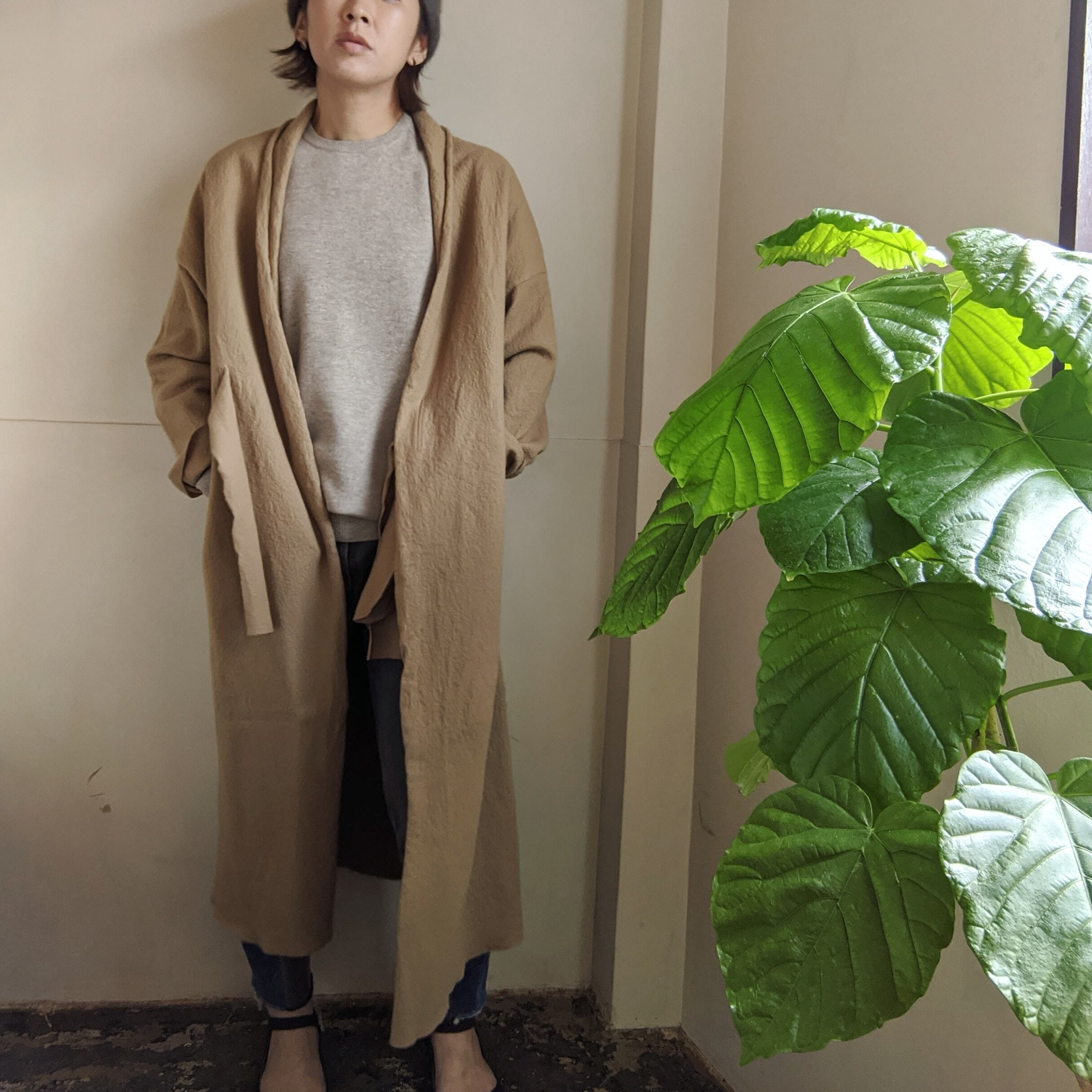 【 habille 】 gown coat / compressed wool / 圧縮ウール / ウールコート / DARK BEIGE