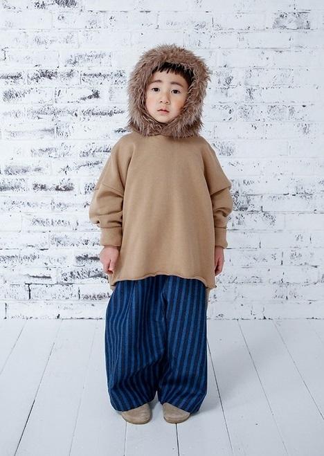 michirico ミチリコ fur hoodie col.:Cinnamon size:L(115-130)・XL(130-140)