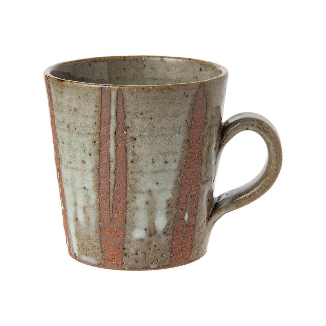 信楽焼 へちもん マグカップ 大 約330ml 白萩立線 MR-3-3336