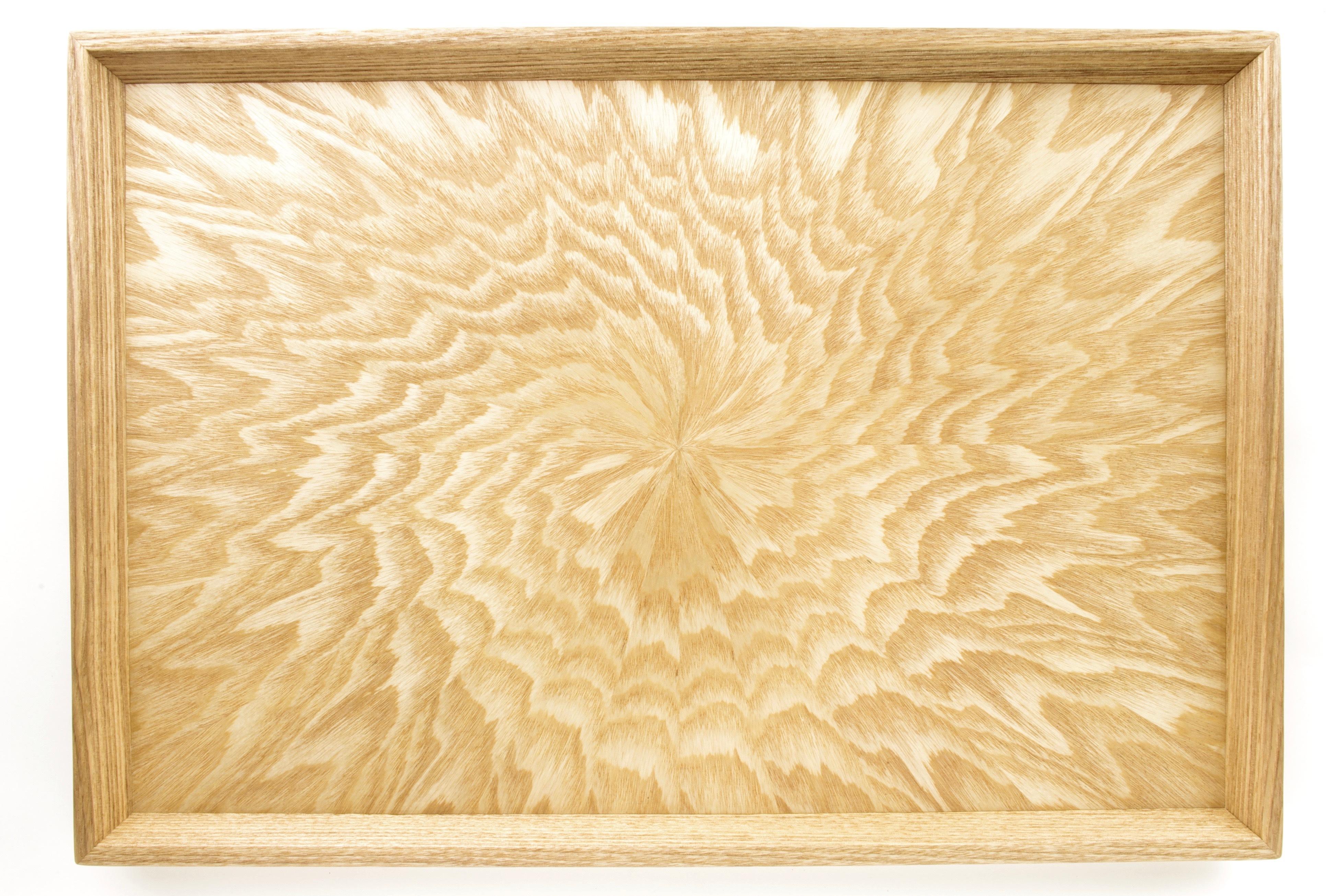 シオジ笹杢 光線貼り長手盆 0014