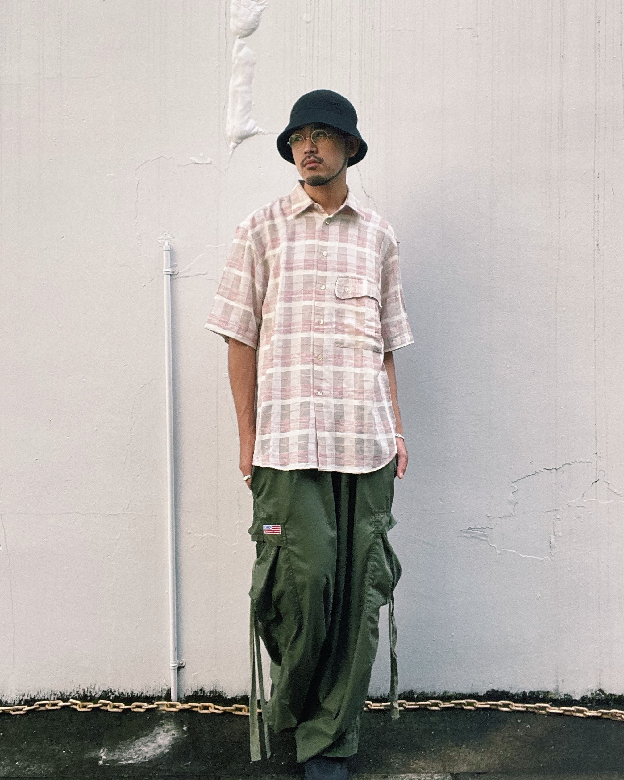 (SH260)Linen cotton checked shirt made in Italy