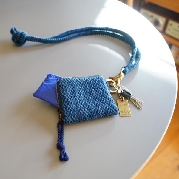 武州正藍染 エコバッグ付きミニ財布(コード付) 二重刺子 ブルー