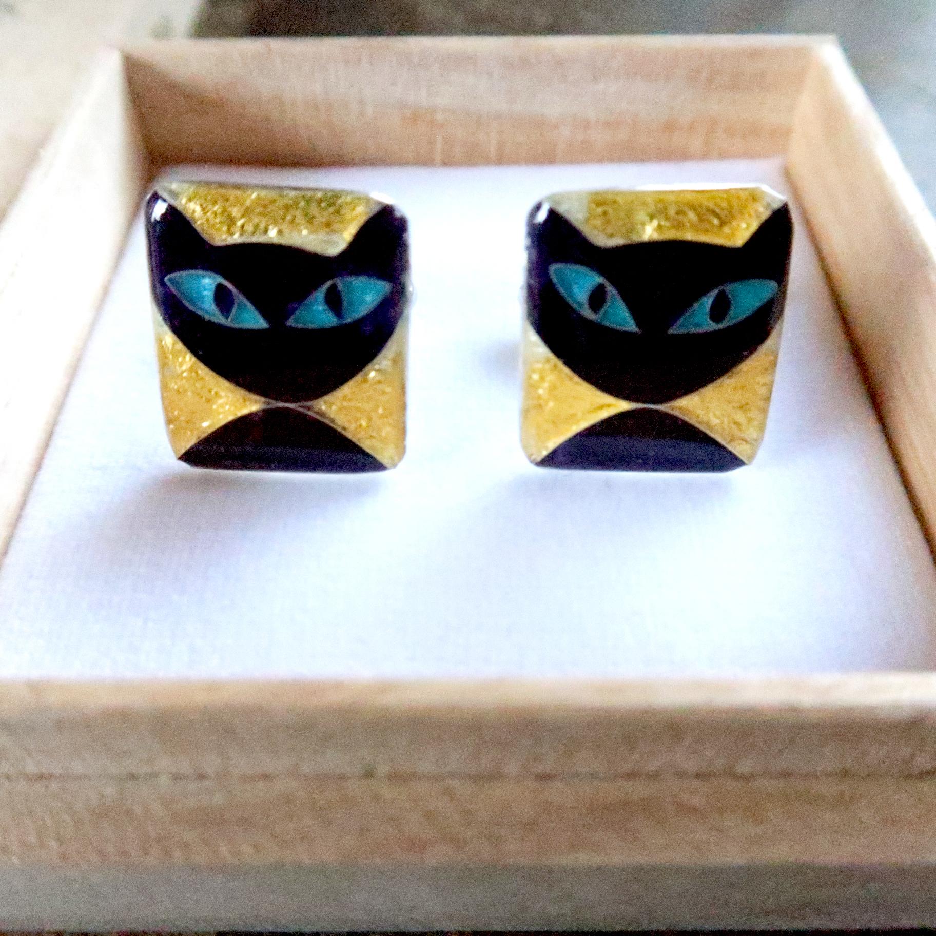 カフス 純銀銀彩 黒猫ブルーアイ / black cat