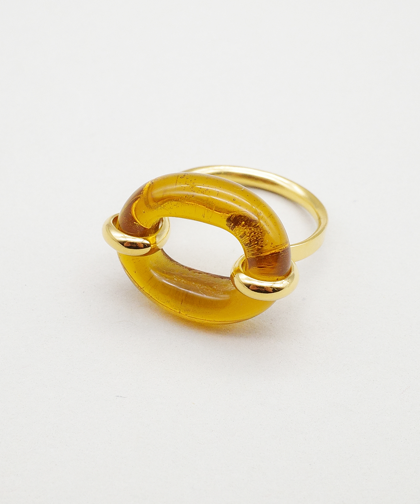 【CLED / クレッド】IN THE LOOP Ring / リング / 14K Gold Filled×Brown Amber