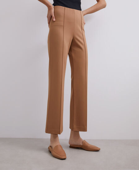 ELASTIC VISCOSE STRAIGHT TROUSERS CAMEL