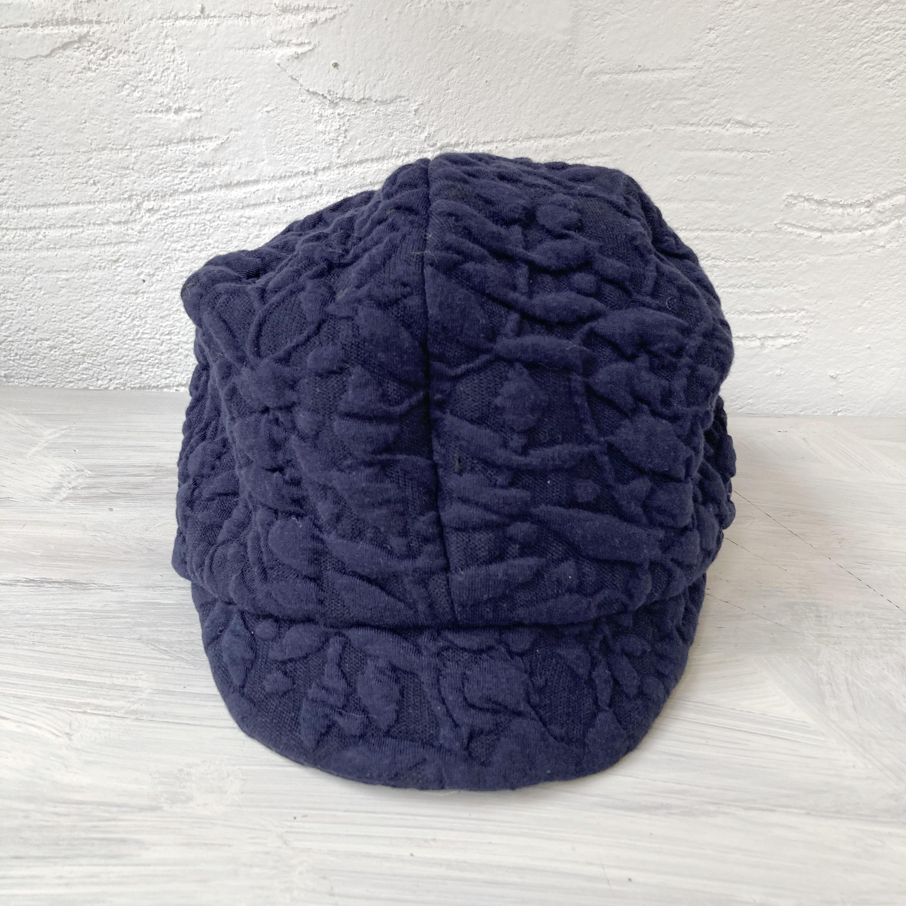 【LuLu de Chapeau】凹凸ニットJQキャスケット帽(ネイビー)