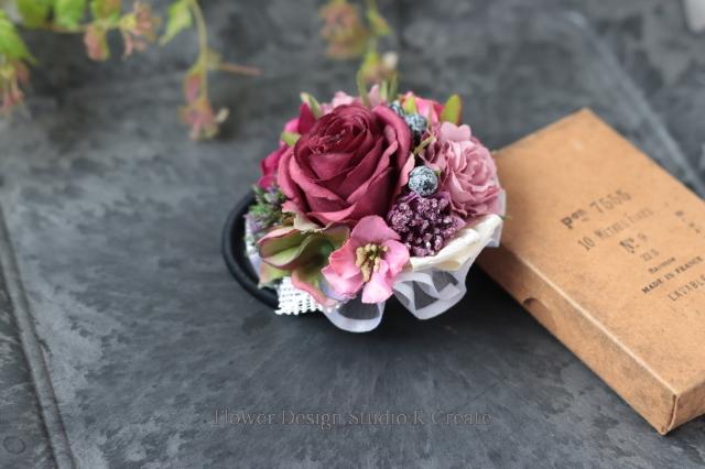 秋色のバーガンディローズと紫陽花のヘアゴム お花 ヘアゴム 髪飾り お出掛け ヘアアクセサリー