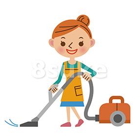 イラスト素材:掃除機をかける主婦(ベクター・JPG)