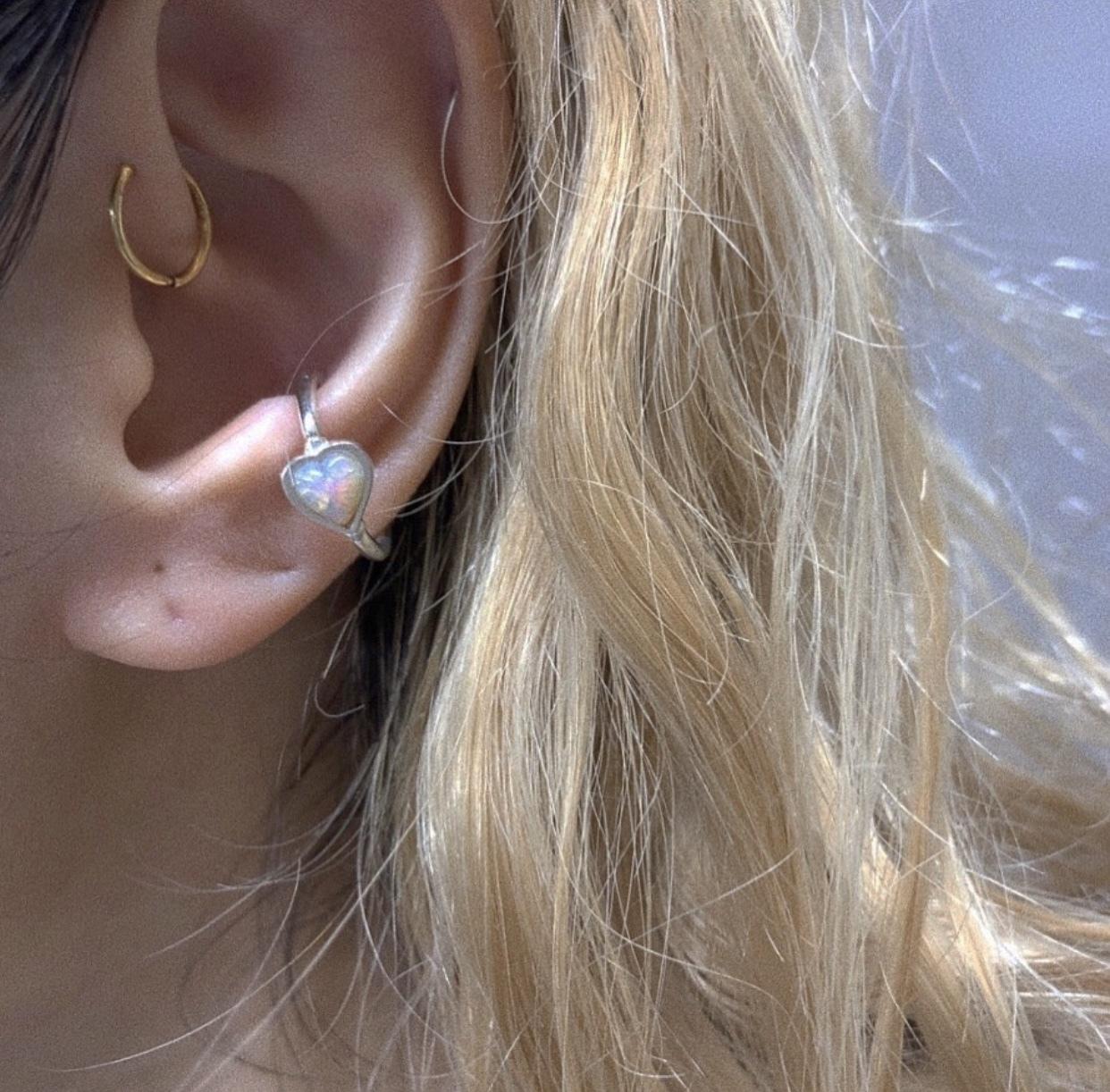 Vintage Heart Stone の snap RING body jewelry 縦 チャーム単体 SILVER925 #LJ19034P