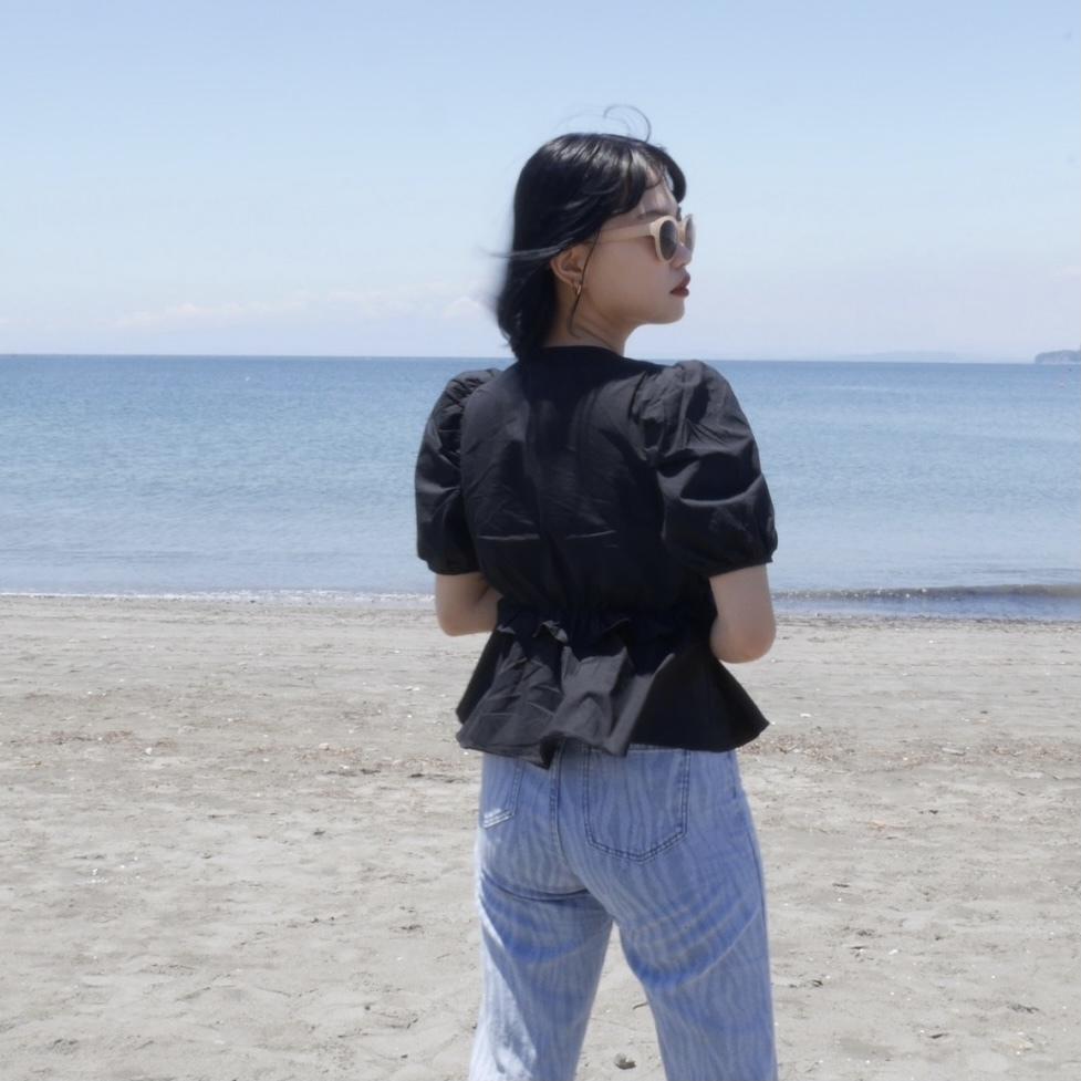 【Belle】girly flare blouse / black