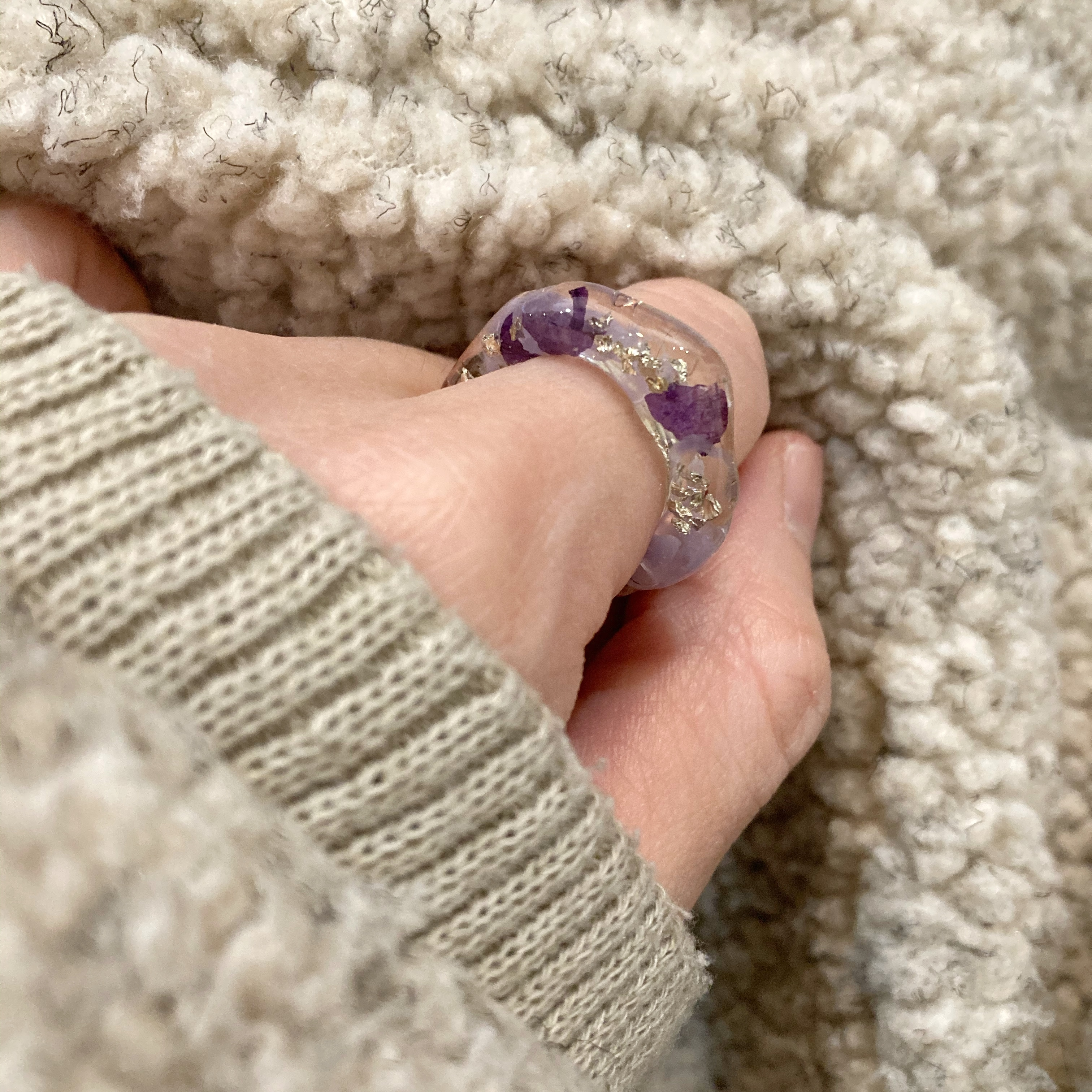 【ambleuki】樹脂ring(ラベンダーティー)約13号
