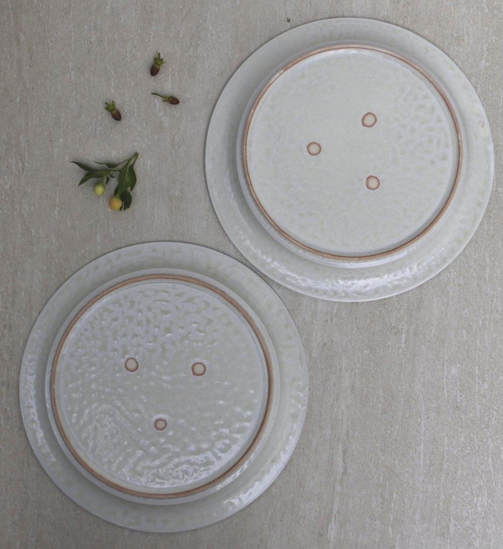 黒木泰等/ ナラ灰釉 反りリム皿